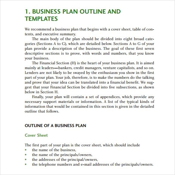 11 Sample Business Plan Outline Templates to Download Sample Templates