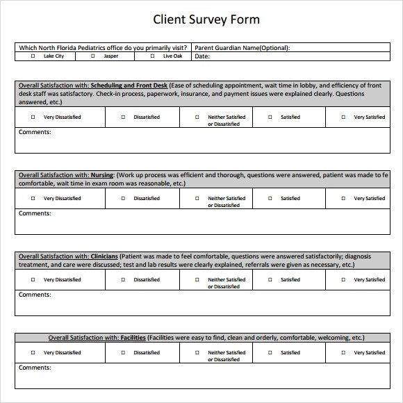 Sample Client Satisfaction Survey - 6+ Documents in PDF - patient satisfaction survey template