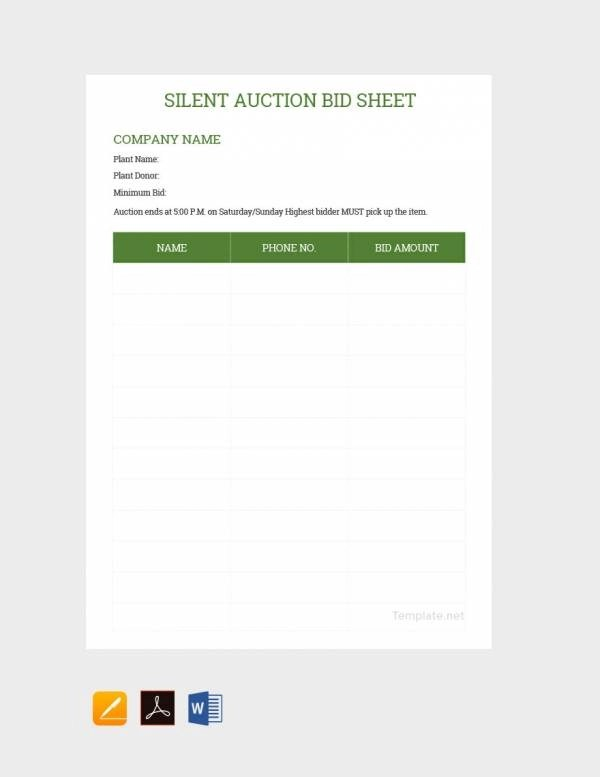 20+ Sample Silent Auction Bid Sheet Templates to Download - DOC, PDF