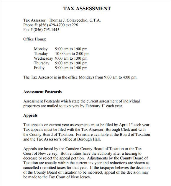 tax assessment template - Basilosaur