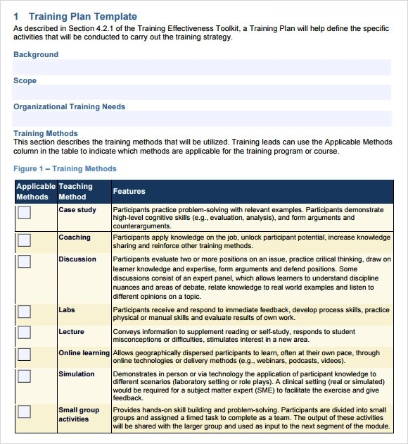 training outline template word - Sample Training Plan