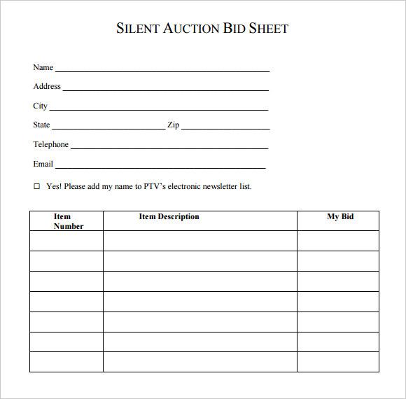 Silent Auction Bid Sheet Template - 18+ Download Free Documents in PDF - sample silent auction bid sheet