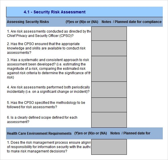 10+ Sample Security Risk Assessment Templates - PDF, Word