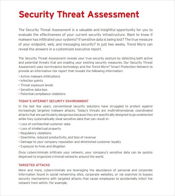 Sample Threat Assessment - 9+ Documents In PDF - sample security risk assessment