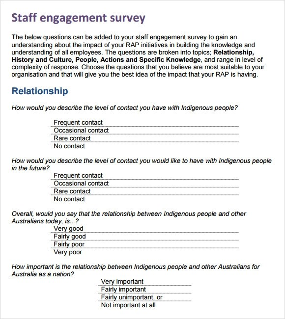 Sample Employee Engagement Questions – Employee Engagement Survey Template