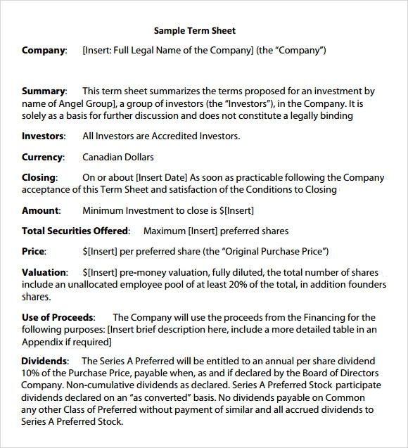 Investment Term Sheet Template  Resume Ideas  NamanasaCom