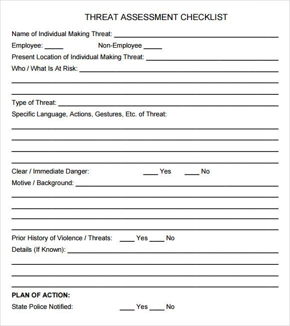 10+ Sample Threat Assessments Sample Templates