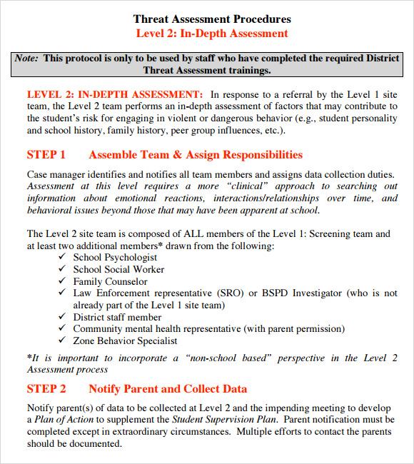 Sample Threat Assessment - 9+ Documents In PDF - sample assessment plan