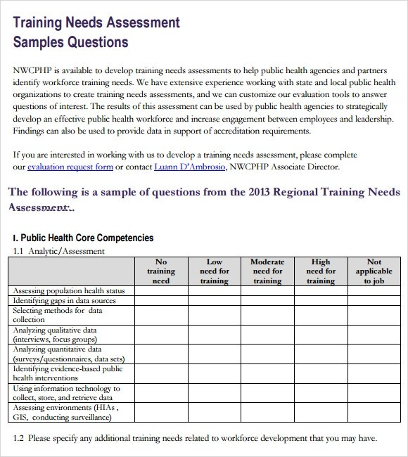 14+ Sample Training Needs Assessment Templates - PDF, Word