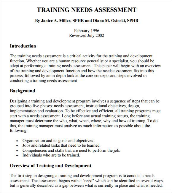 Sample Needs Assessment 11 Sample Needs Assessment 9 Free Sample - sample needs analysis