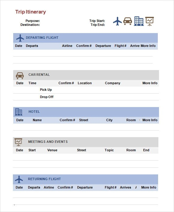 Trip Itinerary Template - 6+ Download Free Documents in PDF, Word