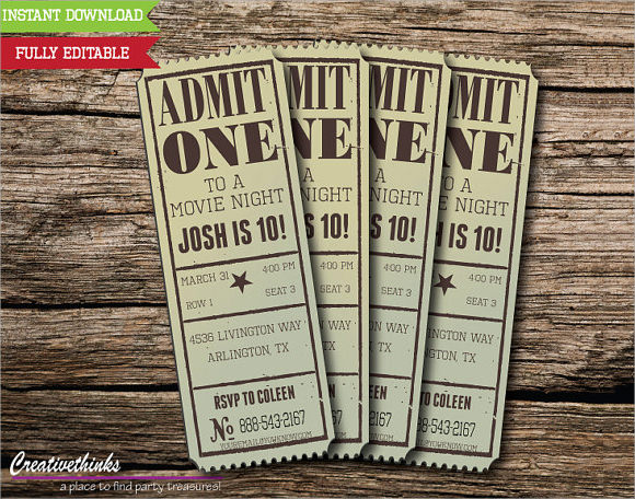 Vintage Movie Ticket Template - movie ticket templates for word