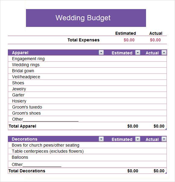 6+ Wedding Budget Samples Sample Templates - wedding budget estimates