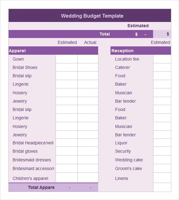 Sample Wedding Budget - 5+ Documents In Word, Excel, PDF - sample wedding budget