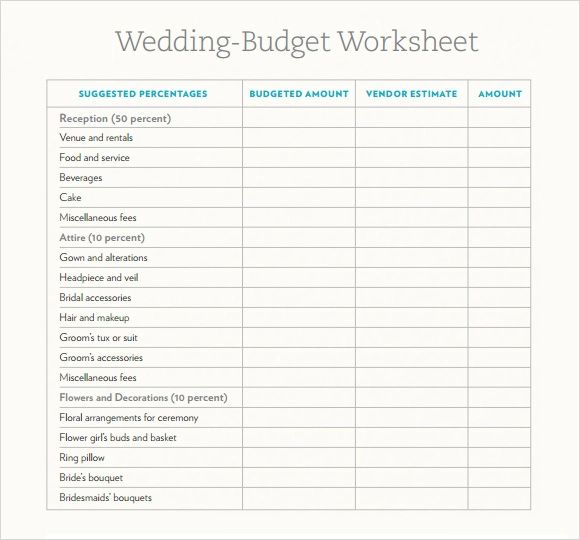 wedding budget excel sheet
