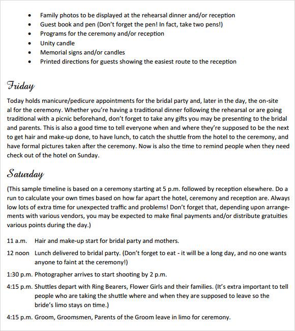 destination wedding weekend itinerary template