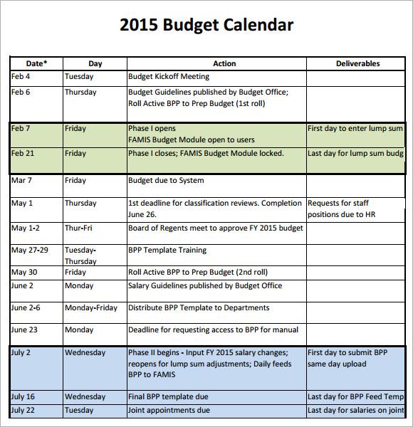Budget Calendar Template u2013 6+ Free Samples , Examples , Format - sample 2015 calendar