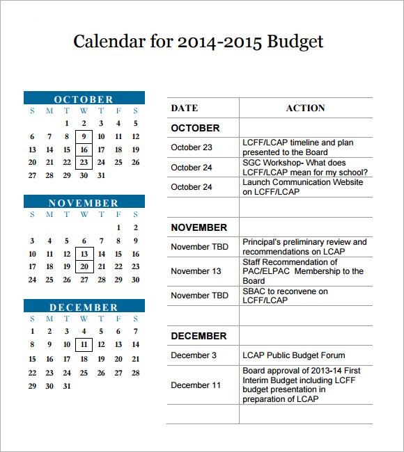 5+ Sample Budget Calendars Sample Templates