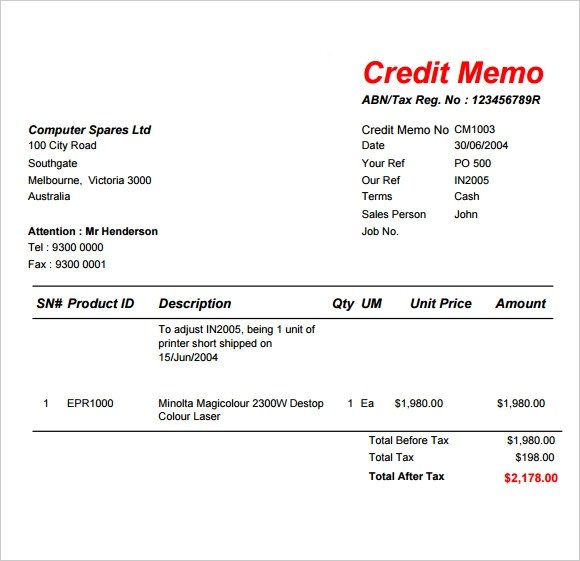 sample of a credit note - Onwebioinnovate - credit note letter