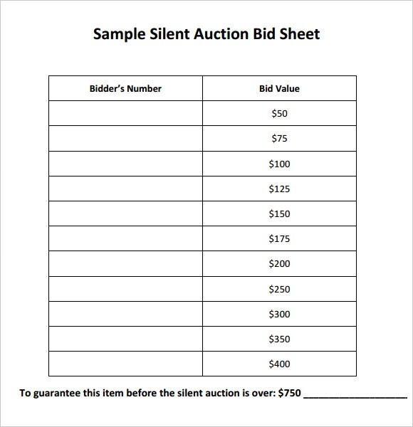 20+ Sample Silent Auction Bid Sheet Templates to Download - DOC, PDF