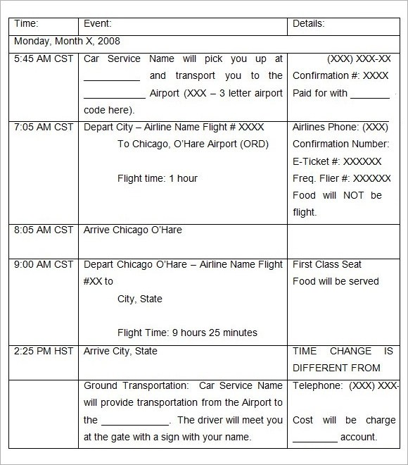8+ Holiday Itinerary Templates Sample Templates