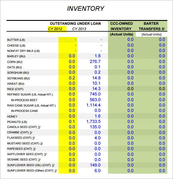 Sample Inventory Report Template cvfreepro