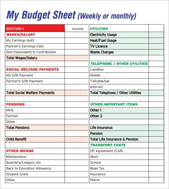 Budget Worksheet Template Sample Weekly Budget Documents In Word - Sample Budget Sheet