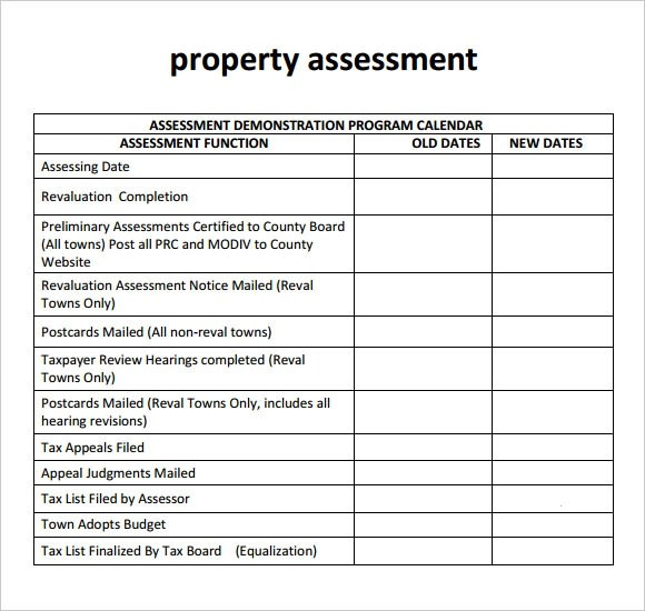 10 Sample Property Assessment Templates to Dowload Sample Templates