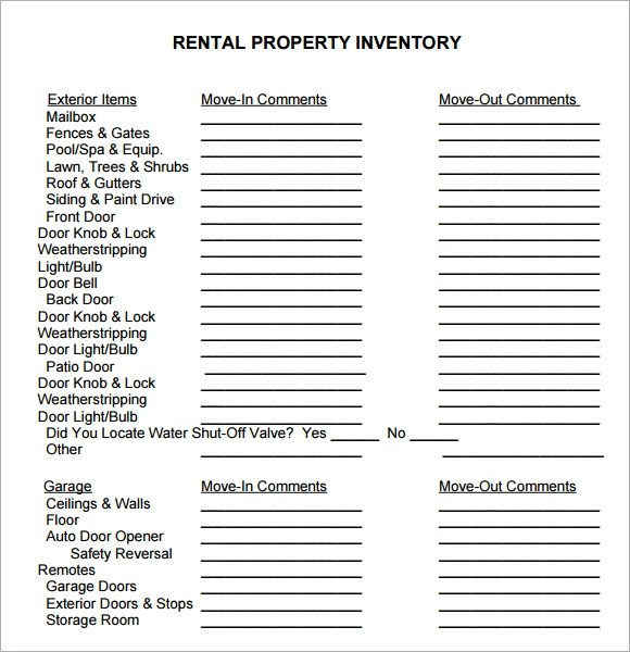 rental inventory template - Onwebioinnovate - free landlord inventory template