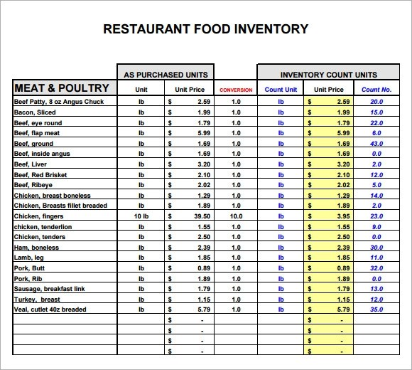 Restaurant Inventory Template Blank Inventory List Template - food inventory template