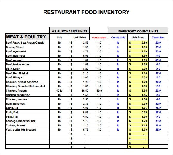 Sample restaurant inventory 6 documents in pdf
