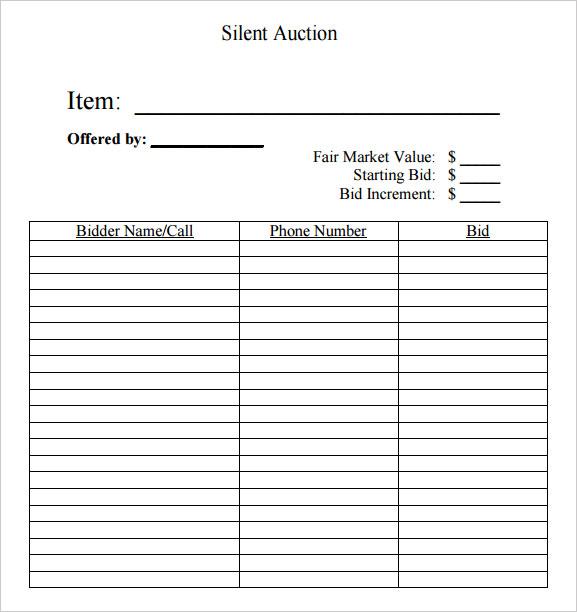silent auction forms bid sheet - Amitdhull - bid format