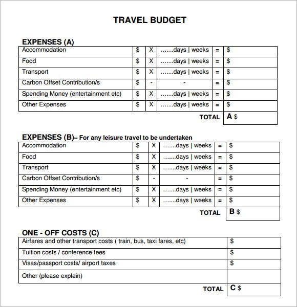 7+ Travel Budget Templates Sample Templates - travel budget template