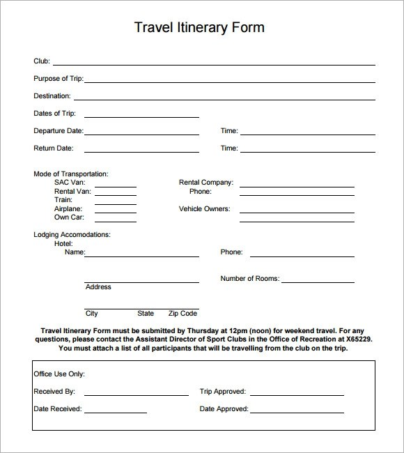 Sample Holiday Itinerary Template - 7+ Documents Download in Word