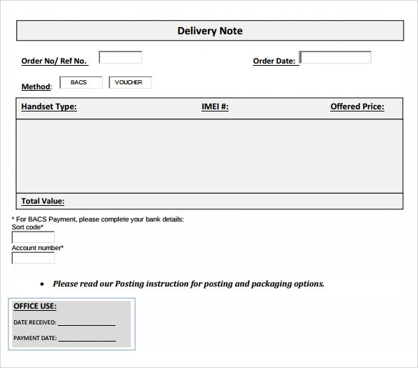 Sample Delivery Note 17+ Documents In Word, PDF Delivery Order Template .