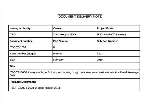 21+ Sample Delivery Note Templates \u2013 PDF, DOC, Excel Sample Templates - dispatch note template