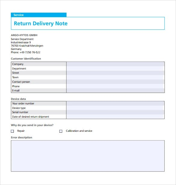 Free   Sample Delivery Note   17+ Documents In Word, PDF   Notes Template  Word ...