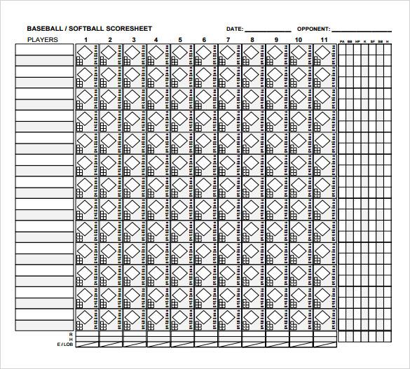 8+ Sample Baseball Score Sheets Sample Templates - baseball score sheet template