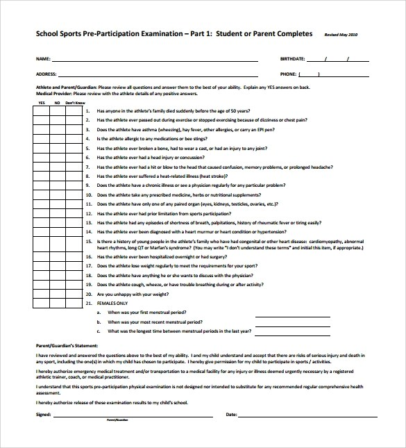 9 Sample Physical Exam Templates to Download for Free Sample Templates - physical exam template