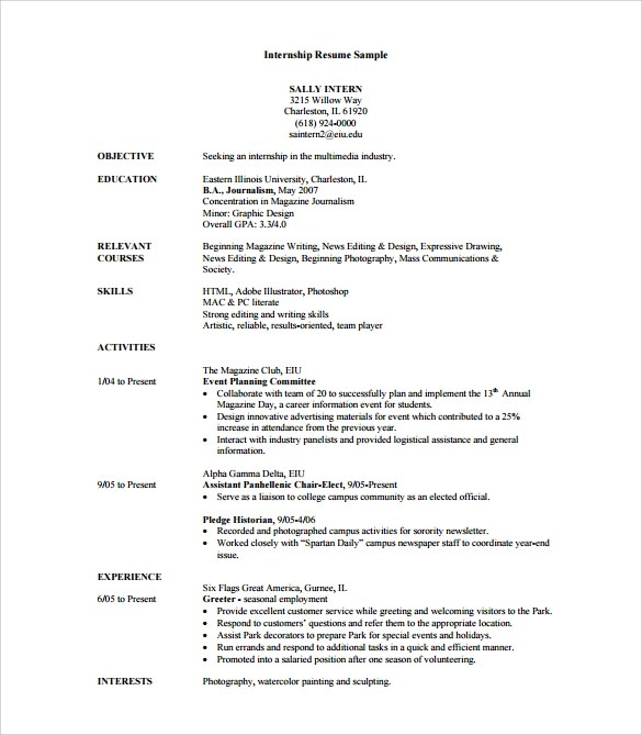 8 Sample Internship Resume Templates for Free Sample Templates - sample of resume for internship