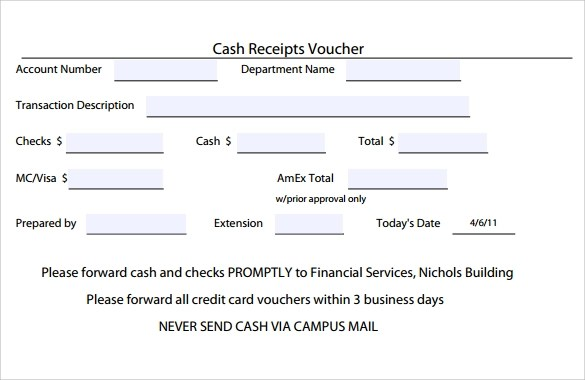 9 Sample Receipt Voucher Templates to Download Sample Templates - cash receiving format