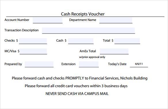 voucher receipt sample