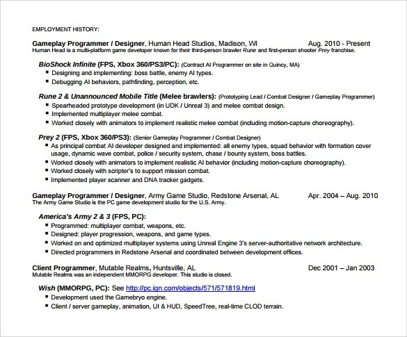 ... Writing And Editing Services \ Resume Templates For Game Designer    Computer Game Developer Cover Letter ...