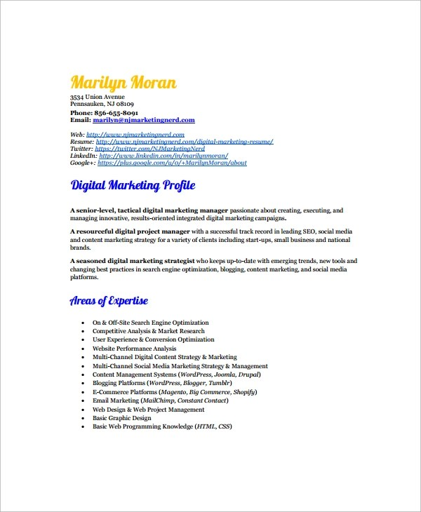 7+ Marketing Resume Templates Sample Templates - digital marketing resume template