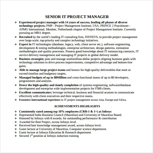 8+ Project Manager Resumes Samples, Examples, Templates Sample - project management resumes samples