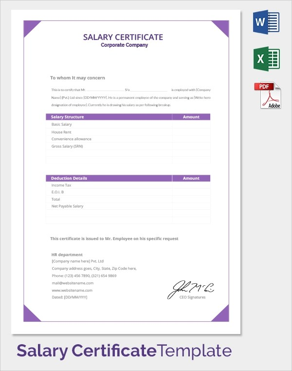 21+ Sample Salary Certificate Templates Sample Templates - corporate certificate template