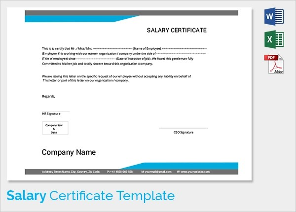 Sample Salary Certificate Template - 21+ Documents in PDF, Word - certificate template doc