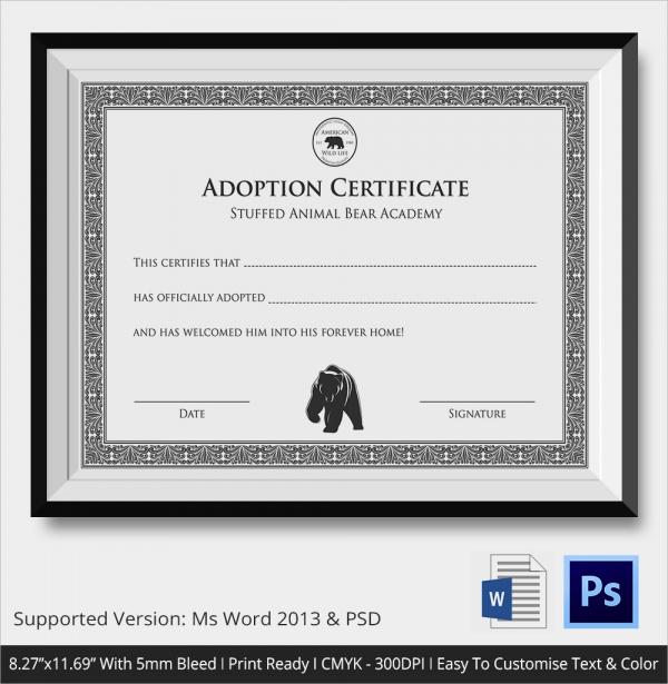 19+ Sample Adoption Certificates Sample Templates - blank adoption certificate template