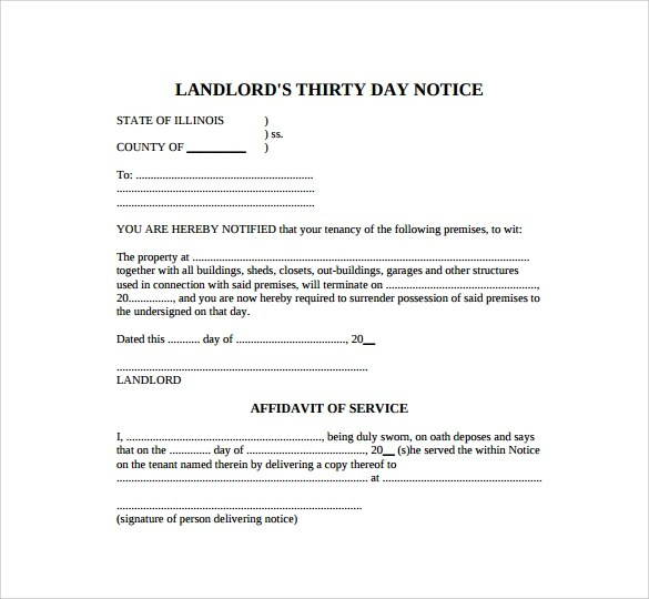 30 day notice template - 30 Day Notice Template