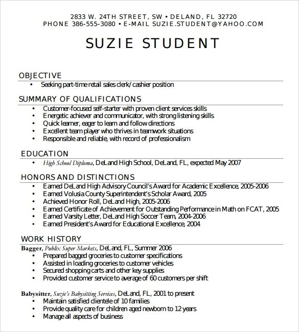 highschool resume template college